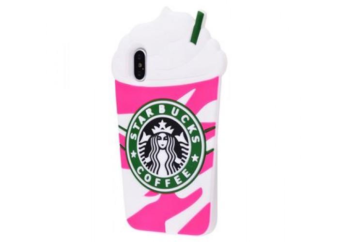 Чехол для iPhone X Starbuks розовый