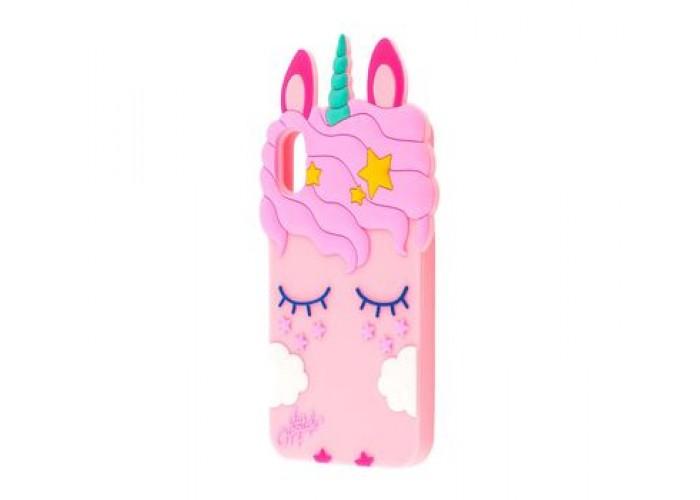 Чехол для iPhone X / Xs Единорог розовый