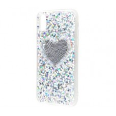Чехол для iPhone X Diamond Hearts серый