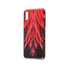 Чехол для iPhone X / Xs Glossy Feathers красный