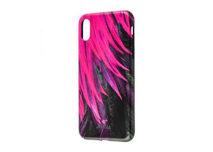 Чехол для iPhone X Glossy Feathers розовый