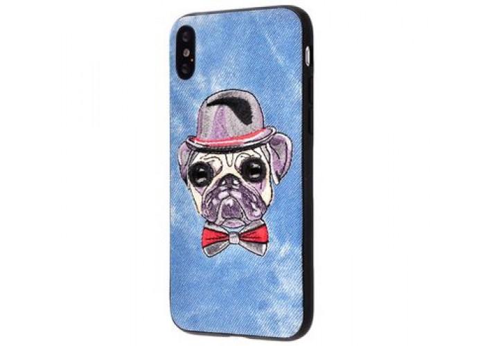 Чехол для iPhone X / Xs Embroider Animals Jeans собака в шляпе