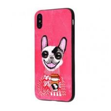 Чехол для iPhone X / Xs Embroider Animals Jeans собака с кофе