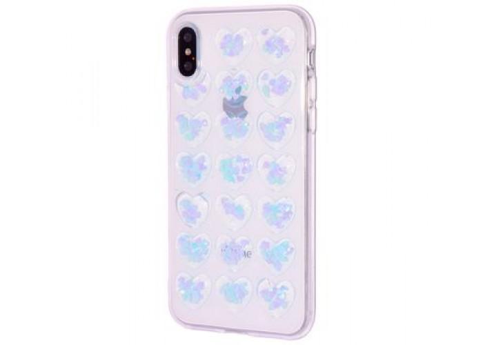 Чехол для iPhone X Confetti Heart голубой