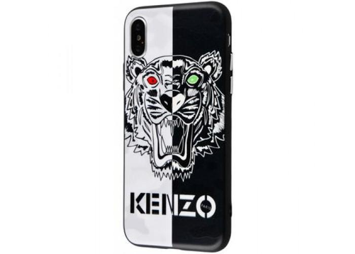 Чехол Glass Case для iPhone Kenzo Черно-белый тигр