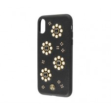 Чехол для iPhone X Luna Aristo жемчуг цветы черный