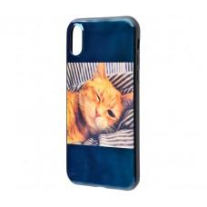 Чехол для iPhone X / Xs Перламутр Кошка