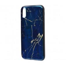 Чехол для iPhone X Перламутр Темно-синий мрамор