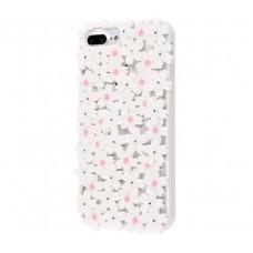 Чехол для iPhone 6s Plus/7 Plus/8 Plus цветы белый
