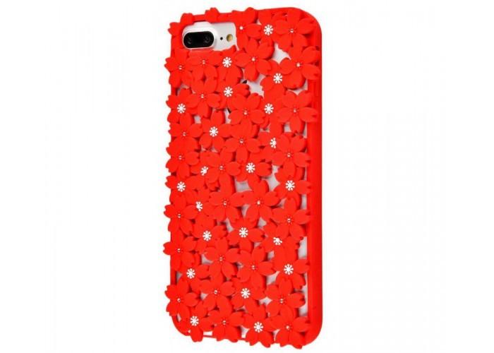 Чехол для iPhone 6s Plus/7 Plus/8 Plus цветы красный