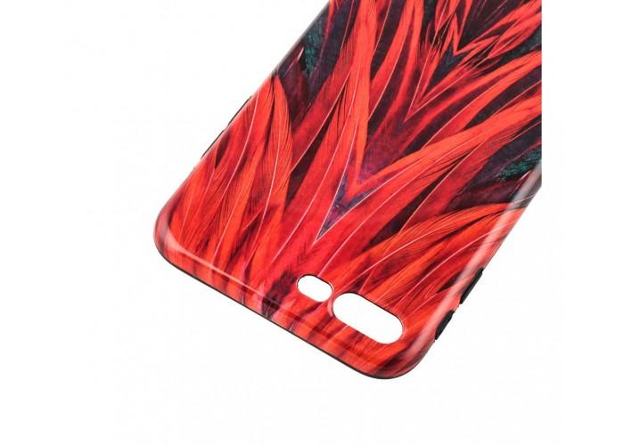 Чехол для iPhone 7 Plus/8 Plus Glossy Feathers красный