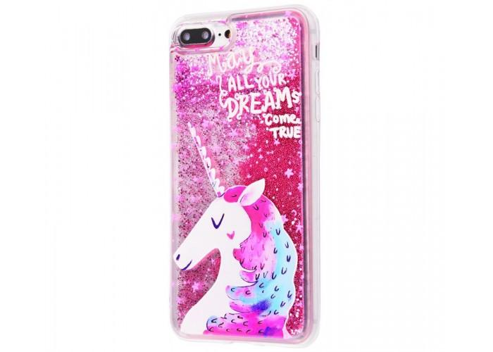 Чехол для iPhone 7 Plus/8 Plus блестки вода розовый единорог