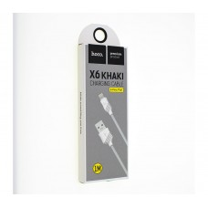 Кабель Hoco X6 Khaki Lightning Charging Cable (1м) белый