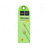 Кабель Hoco X6 Khaki Lightning Charging Cable (1м) салатовий