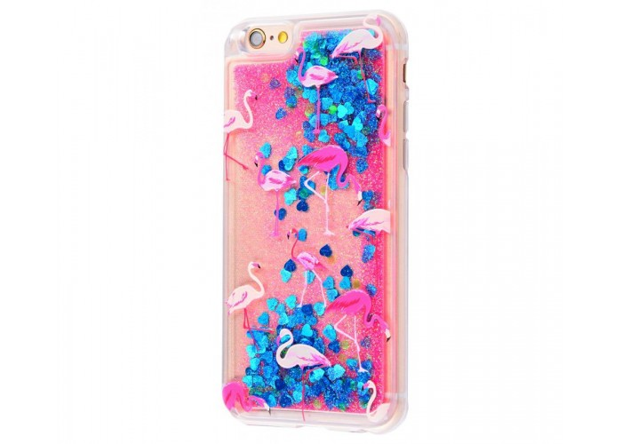 Чехол для iPhone 6/6s блестки вода New розово-синий фламинго