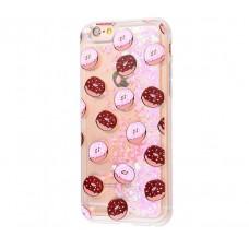 Чехол для iPhone 6/6s блестки вода New пончик