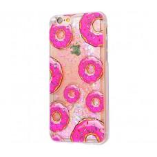 Чехол для iPhone 6/6s блестки вода New светло-розовый пончик