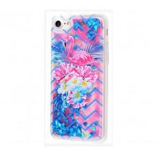 Чехол для iPhone 7/8 блестки вода New розово-синий фламинго с букетом