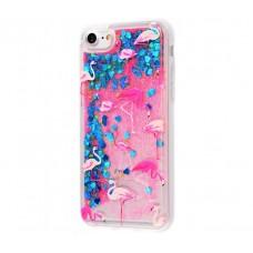 Чехол для iPhone 7/8 блестки вода New розово-синий фламинго