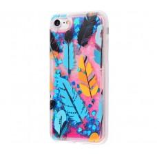 Чехол для iPhone 7/8 блестки вода New розово-синий перья