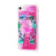 Чехол для iPhone 7/8 блестки вода New ярко-розовый фламинго