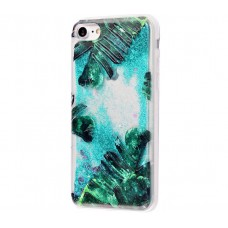 Чехол для iPhone 7/8 блестки вода New зеленый лист