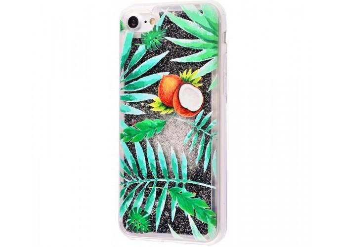 Чехол для iPhone 7/8 блестки вода New зеленый кокос