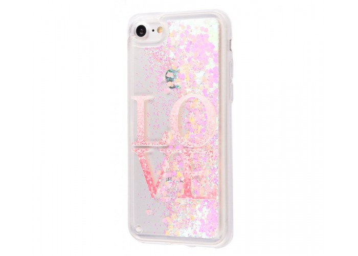 Чехол для iPhone 7/8 блестки вода New Love