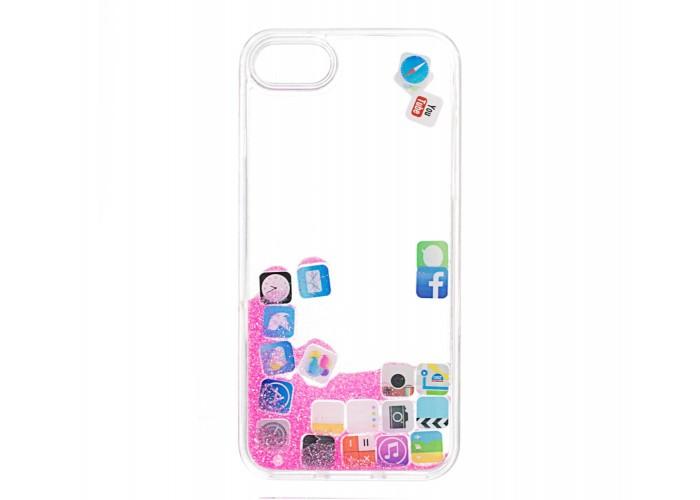 Чехол для iPhone 7/8 блестки вода розовый песок
