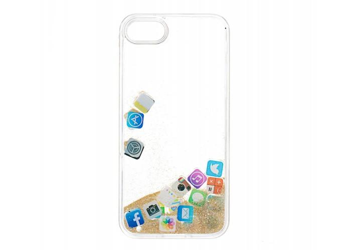 Чехол для iPhone 7/8 блестки вода золотой песок