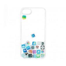 Чехол для iPhone 7/8 блестки вода голубой песок