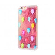Чехол для iPhone 6/6s блестки вода New розовый шарики