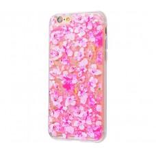 Чехол для iPhone 6/6s блестки вода New розовый цветы