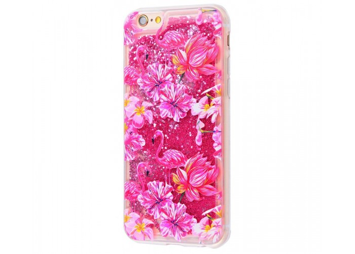 Чехол для iPhone 6/6s блестки вода New розовый фламинго