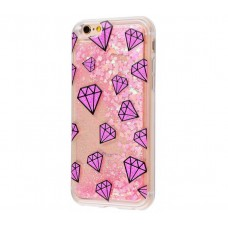 Чехол для iPhone 6/6s блестки вода New розовый рубин