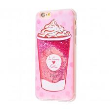 Чехол для iPhone 6/6s блестки вода New розовый Ice Cream Coffee