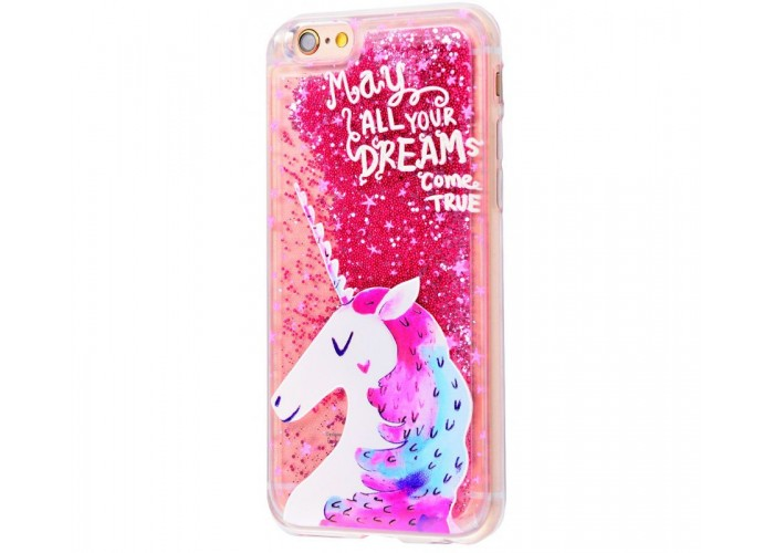 Чехол для iPhone 6/6s блестки вода New розовый единорог