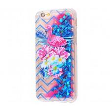 Чехол для iPhone 6/6s блестки вода New розово-синий фламинго с букетом
