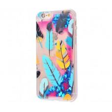 Чехол для iPhone 6/6s блестки вода New розово-синий перья