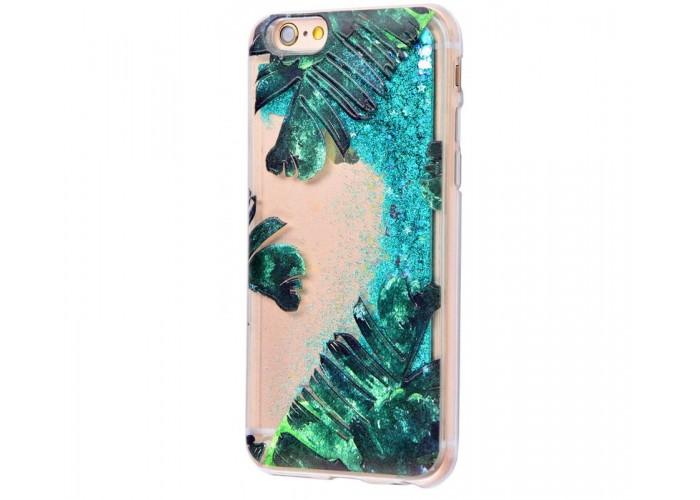 Чехол для iPhone 6/6s блестки вода New зеленый лист