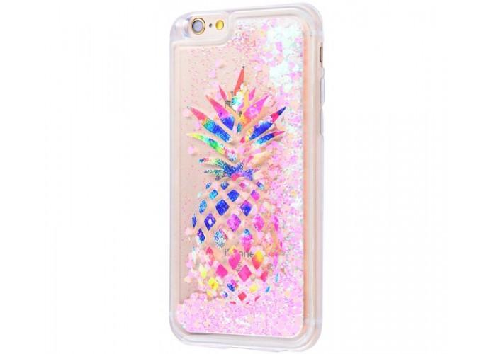 Чехол для iPhone 6/6s блестки вода New ананас