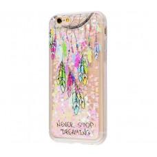 Чехол для iPhone 6/6s блестки вода New розовый амулет