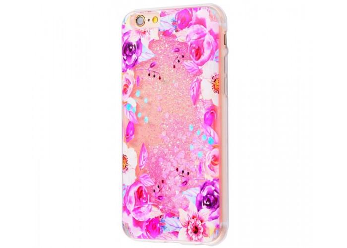 Чехол для iPhone 6/6s блестки вода New розовый цветы 2