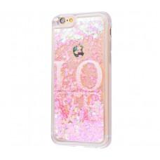 Чехол для iPhone 6/6s блестки вода New Love
