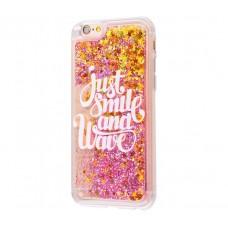 Чехол для iPhone 6/6s блестки вода New розовый Just Smile