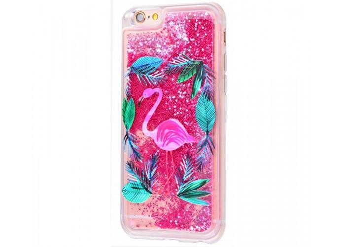 Чехол для iPhone 6/6s блестки вода New ярко-розовый фламинго