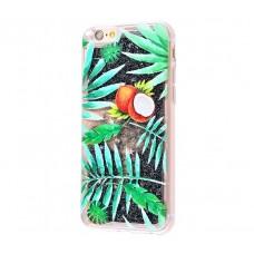Чехол для iPhone 6/6s блестки вода New зеленый кокос