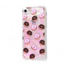 Чехол для iPhone 7/8 блестки вода New пончики