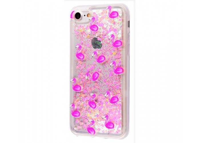 Чехол для iPhone 7/8 блестки вода New фламинго