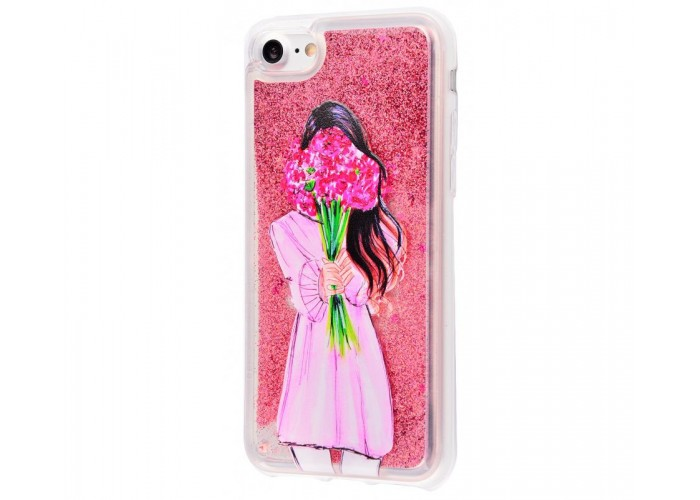 Чехол для iPhone 7/8 блестки вода New розовый девушка с букетом